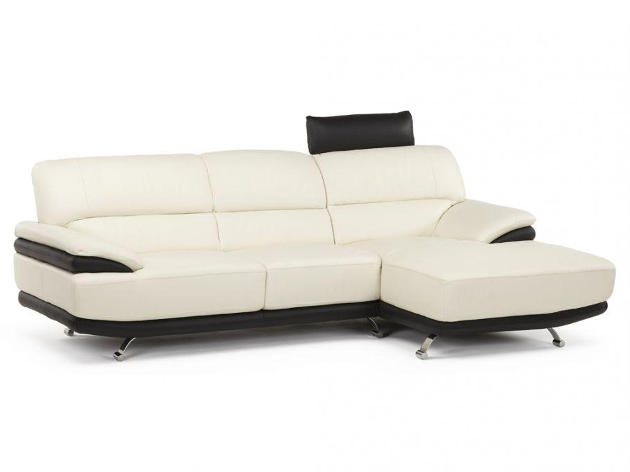 Soldes Canapé Vente Unique promo canapé, soldes Canapé d'angle en cuir OVATION - bicolore blanc et noir - Angle droit prix soldes Vente Unique 649.99 € TTC prix constaté 899.99 €