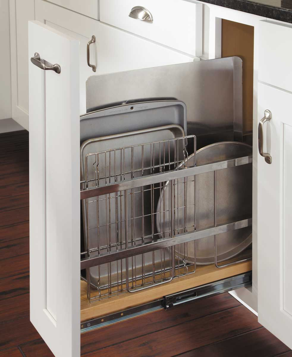 Tray divider pull out kitchen pinterest for Kitchen cabinets storage