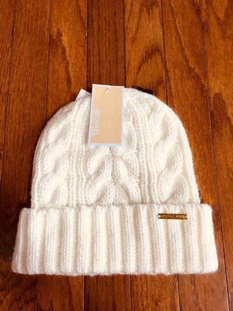 487b1d932 Details about MICHAEL Michael Kors Cable Knit Brim Beanie Hat ...