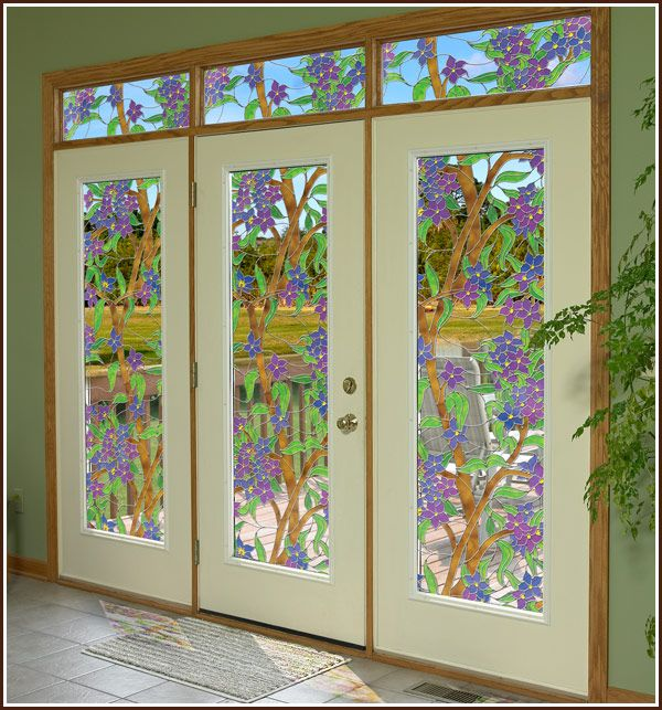 biscayne clear stained glass window film static cling window film window and glass. Black Bedroom Furniture Sets. Home Design Ideas