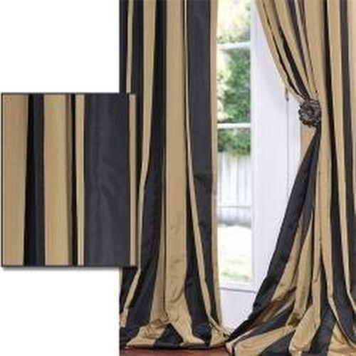 Exclusive Fabrics Black Gold Stripe Faux Silk Taffeta Curtain