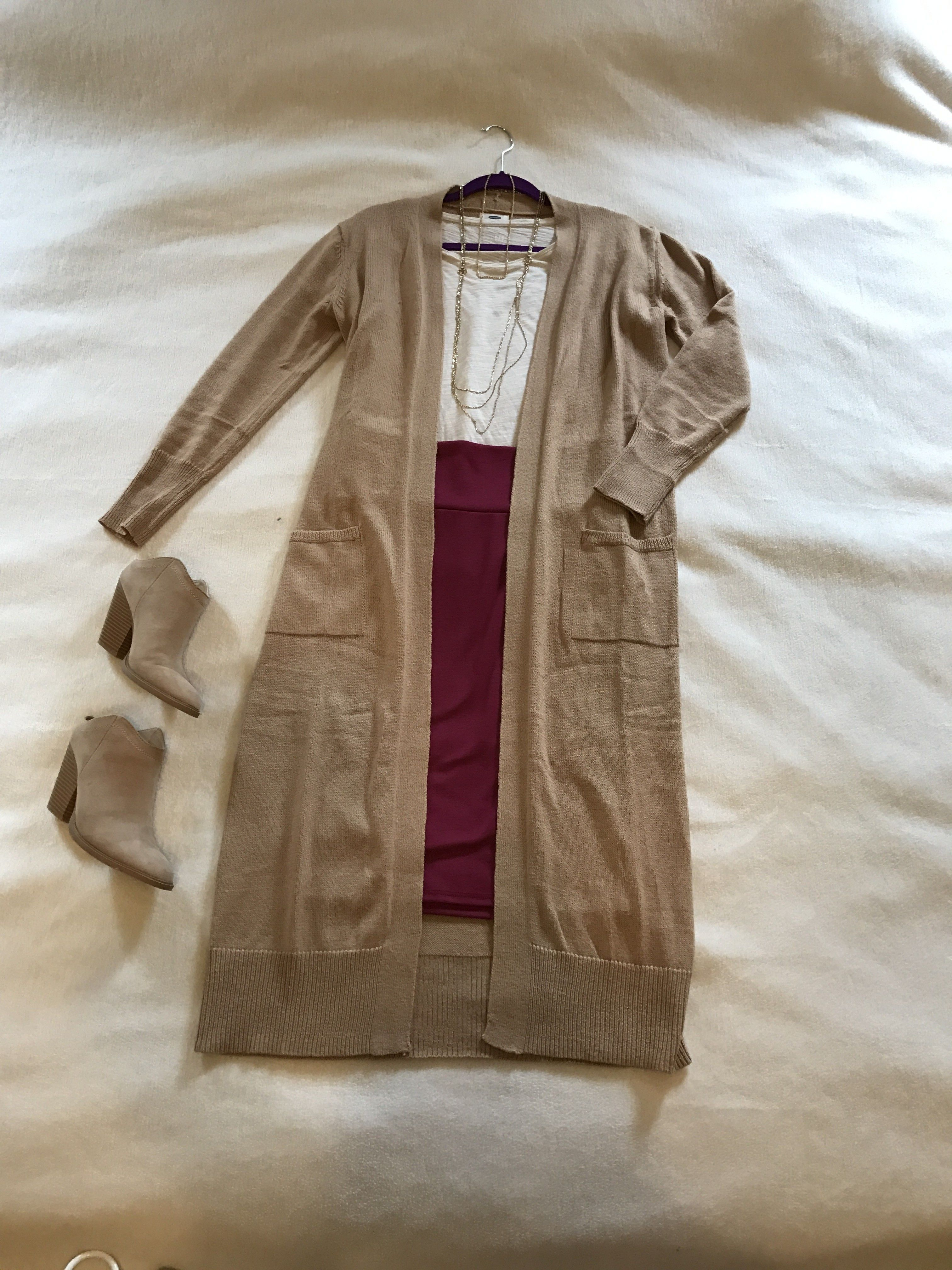 Camel duster cardigan, beige t-shirt, burgundy LuLaRoe Cassie ...