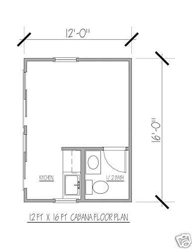 POOL HOUSE - PLANS BLUEPRINTS 12 FT x 16 FT MODERN • $16 ...