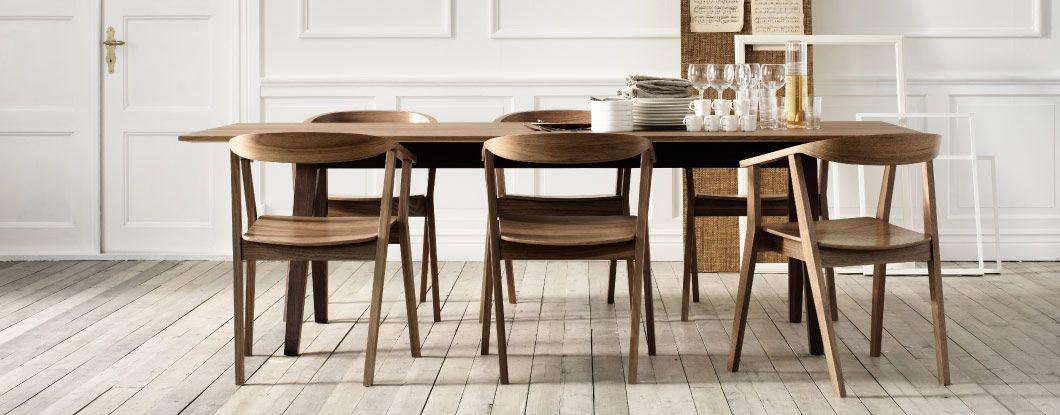 Table et chaises de salle à manger STOCKHOLM en placage de noyer