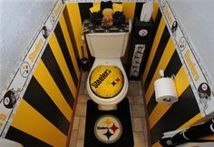 Steelers Themed Powder Room, Complete With An Air Brushed Logo Toilet Seat