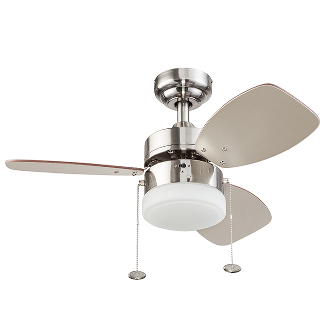 Harbor Breeze Ceiling Fan 30 120 V Steel And Glass Brushed Nickel 21302 Rona In 2020 Ceiling Fan Glass Ceiling