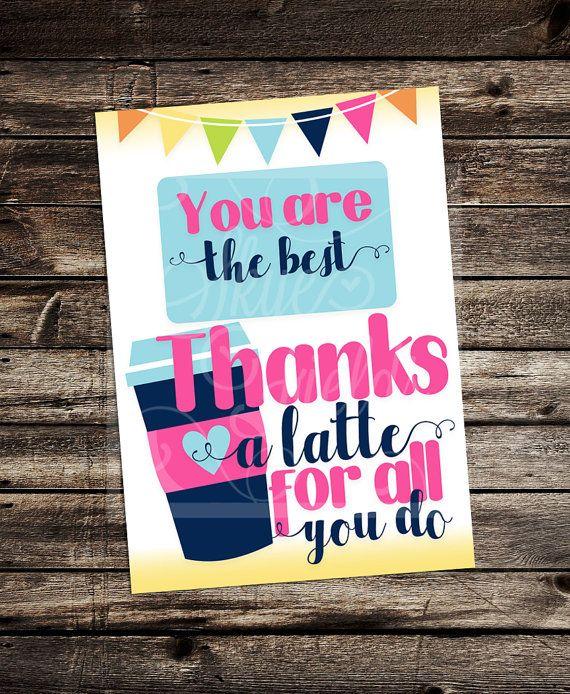 Thanks A Latte 5X7 Printable Thank You -Female/ Male
