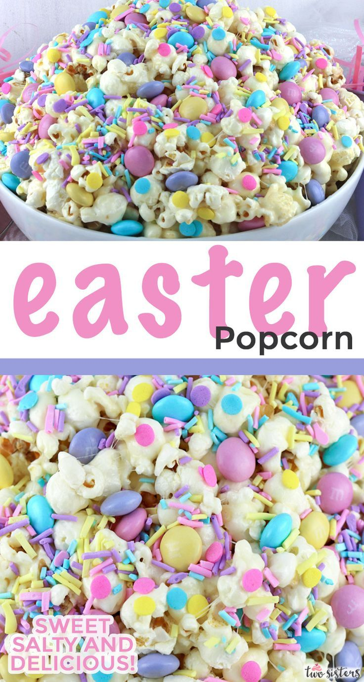 Springtime Celebration Popcorn is part of Easter brunch food, Easter dessert, Easter popcorn, Yummy easter desserts, Easter snacks, Easter fun food - Springtime Celebration Popcorn is a colorful and yummy popcorn dessert  the perfect combination of sweet, salty and crunchy in a single bowl