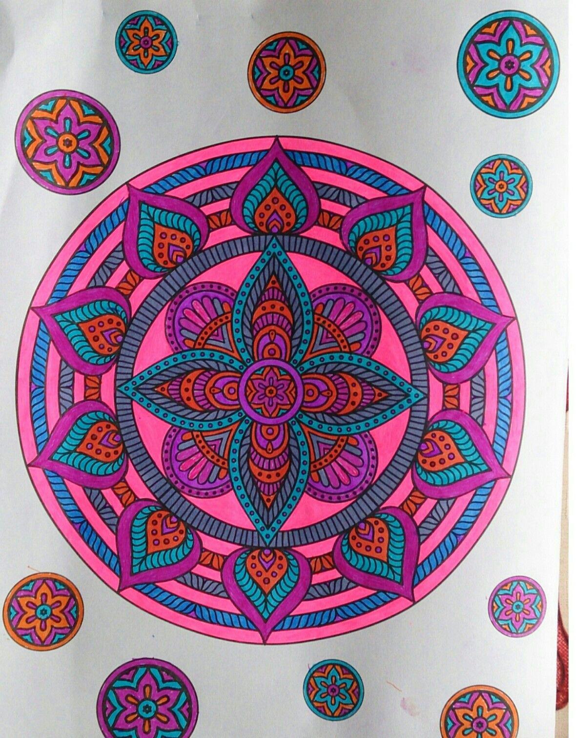 Mandala Colored With Gel Pens Neon Gel Pens Coloring By Me