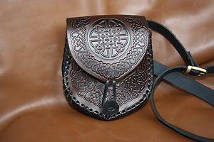 Leather Celtic Bag Belt Pouch