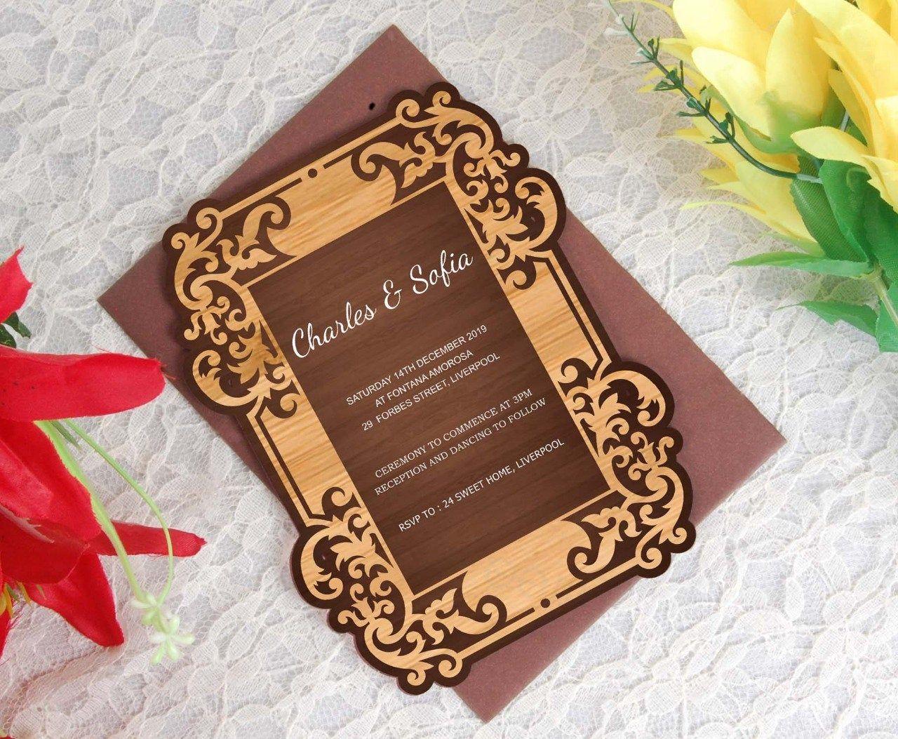 Acrylic Invitation Wedding Invite Clear Acrylic