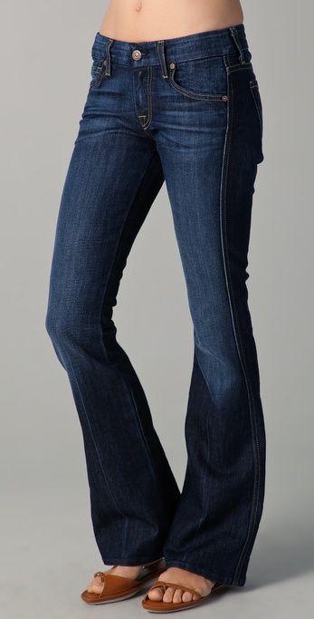 Petite 'A' Pocket Flare Jeans