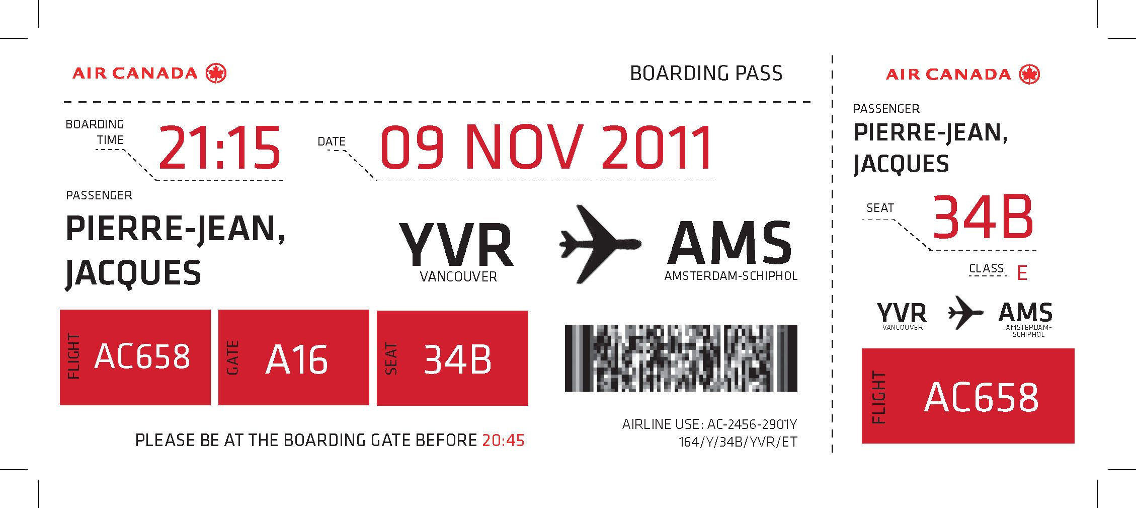 Air Canada Boarding Pass  Just Landed Inspiration