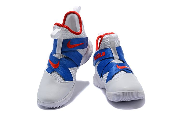 36aee817cb98 LeBron Soldier 12 White Blue-Red Men s Basketball Shoes