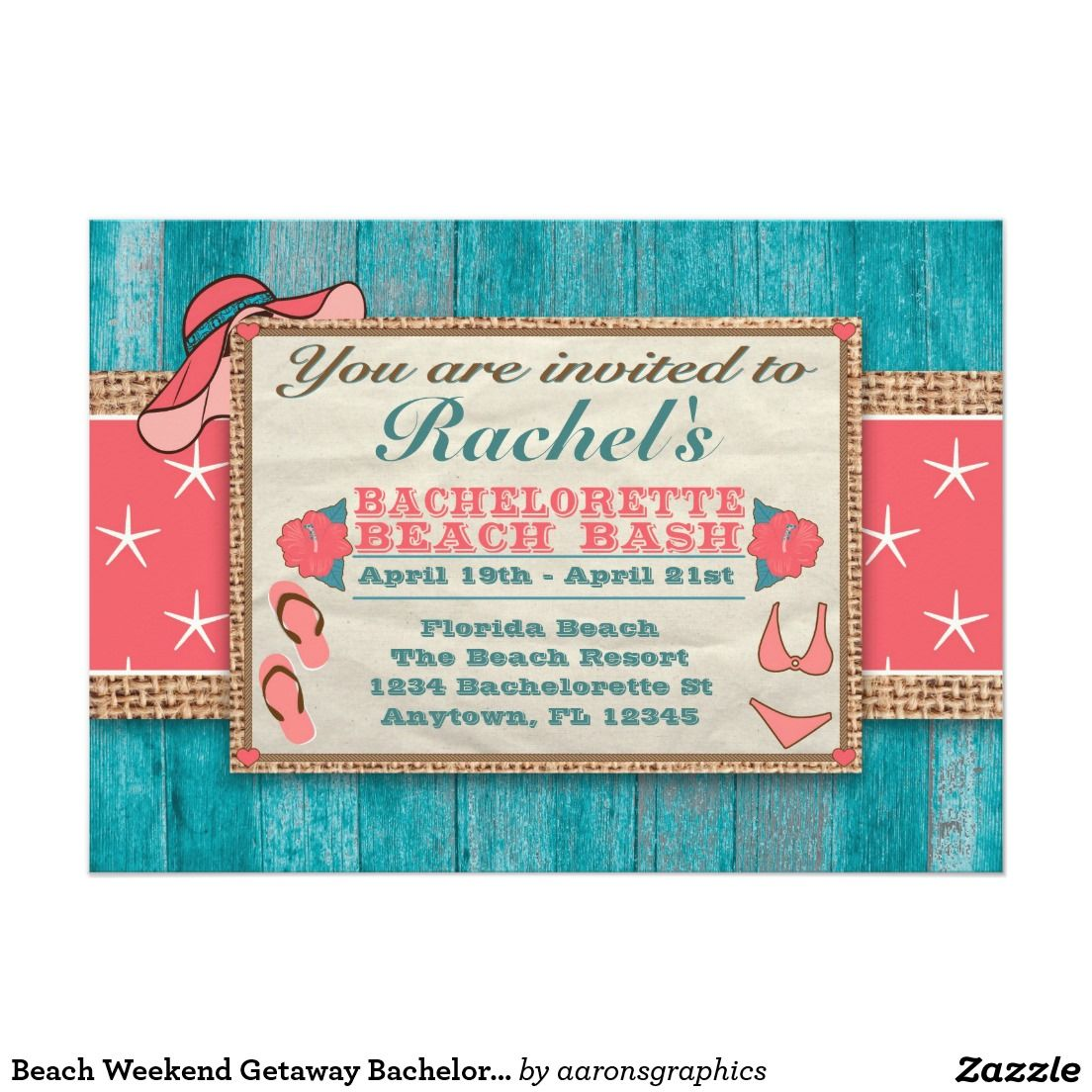 Beach Weekend Getaway Bachelorette Invitation SSM Bachelorette