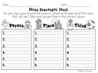 Free printable noun activities, such as this Noun