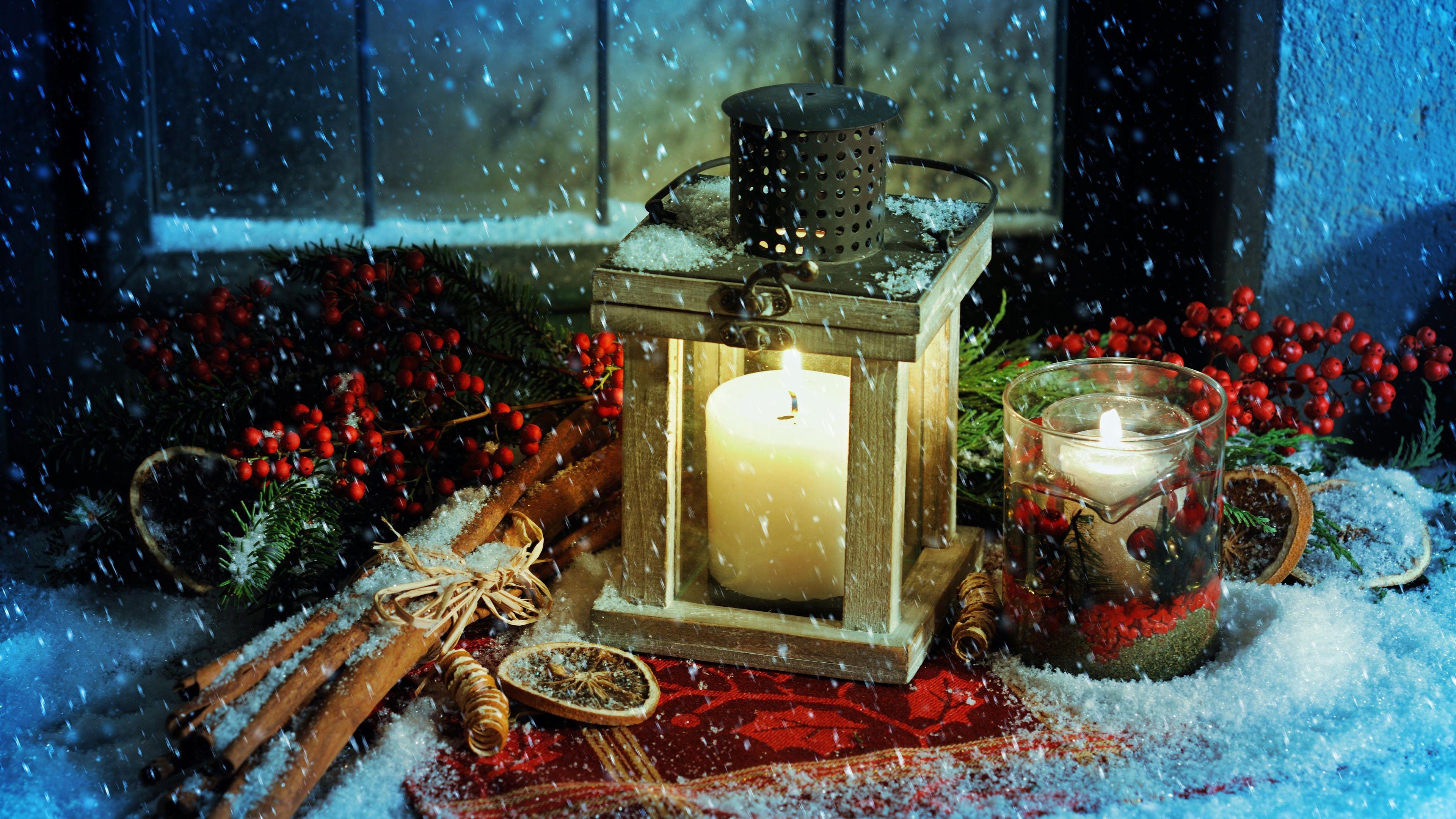 Noel Theme Lanterne Bougies Feu Neige Fonds D Ecran 3840x2160 Uhd 4k Decoration Hiver Livres De Noel Noel