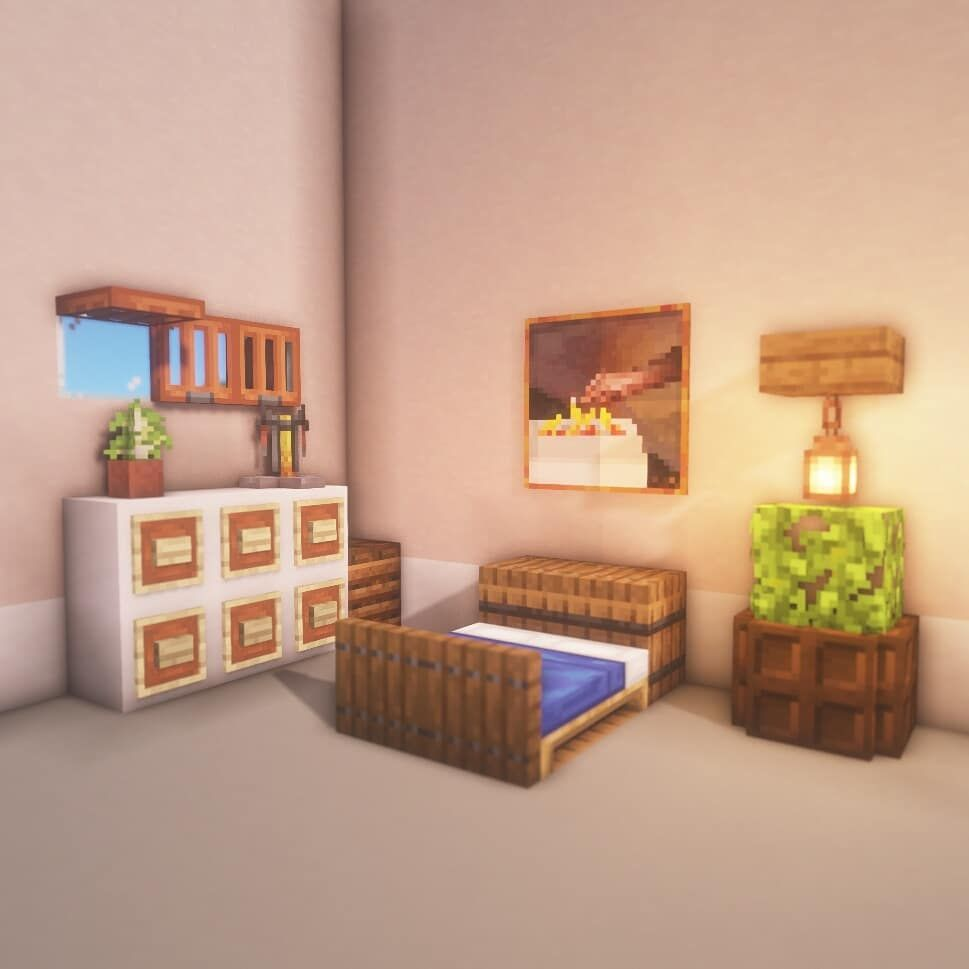 313 Gilla Markeringar 9 Kommentarer Minecraft Enthusiast Rinko Craft På Instagram Simple Bedroom Minecraft Bedroom Minecraft Room Minecraft Decorations
