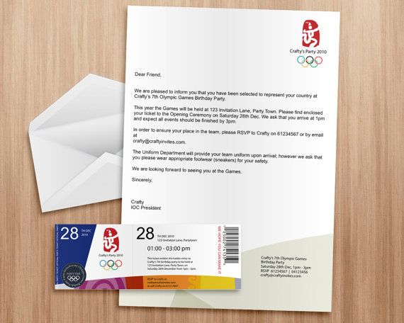Olympic Games Invitation Ticket And Letter  Editable And
