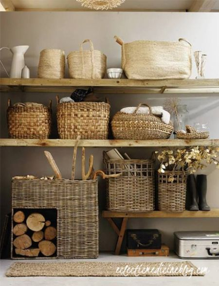 wood shelving + baskets