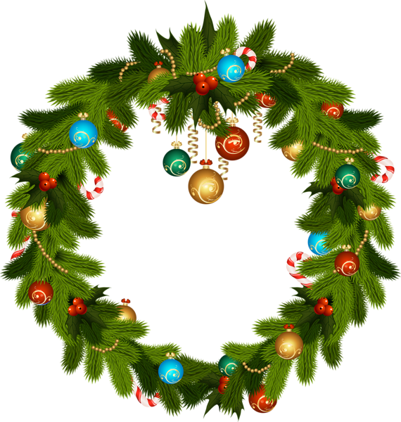 Christmas Wreath and Ornaments PNG Clip Art Картинки