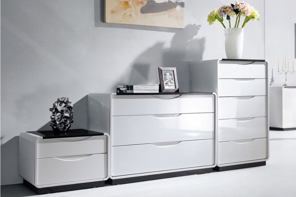 Presta 2 Drawer High Gloss Cabinet Bedside Table