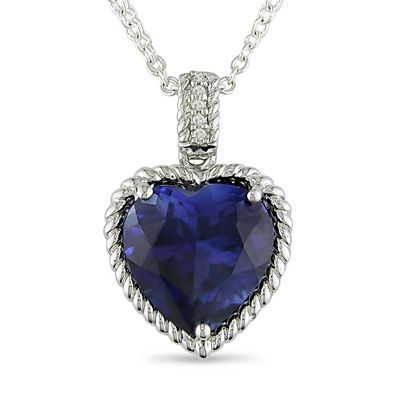 My birthstone sapphire heart pendant in sterling silver with sapphire heart pendant in sterling silver with diamond accents aloadofball Gallery