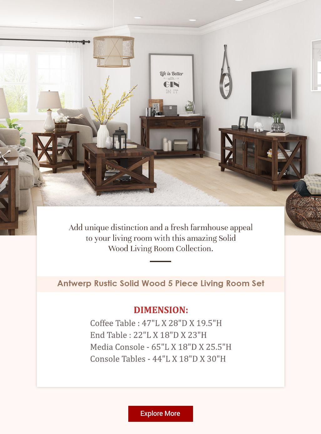 Antwerp Rustic Solid Wood 5 Piece Living Room Set Living Room