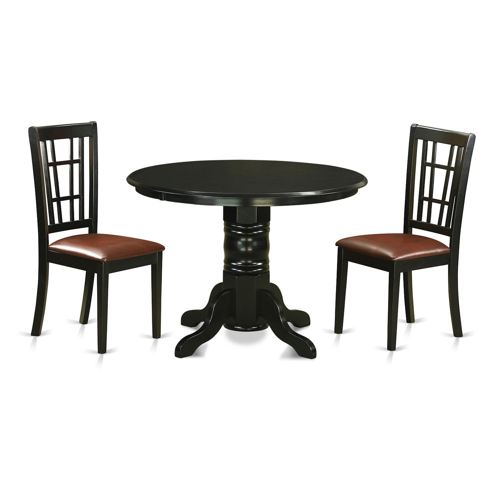 East West Furniture Shelton 3 Piece Windowpane Dining Table Set In 2021 Round Dining Table Sets Solid Wood Dining Set Kitchen Table Settings 3 piece dining set under 100
