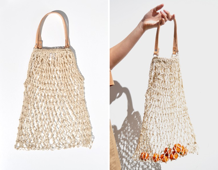 Woven string grocery bag with leather handle via for How to weave a net with string