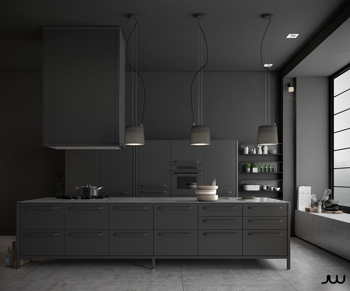 Contemporary Kitchen All Grey Kitchen Shades Of Concrete Block