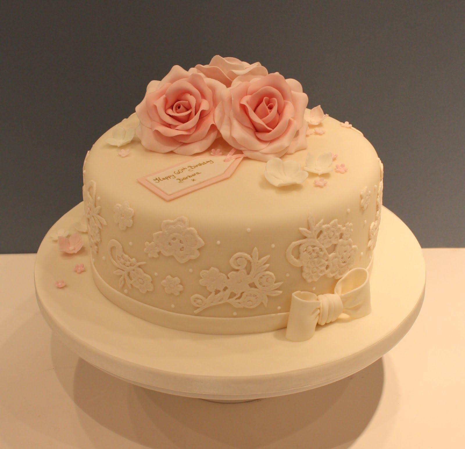 Elegant Lace Roses Birthday Cake Elegant Birthday Cakes