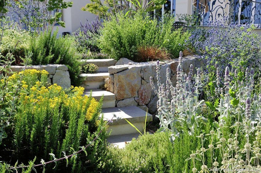 Amenager Un Jardin En Terrasses Terrasse Jardin Amenagement Jardin Jardin Mediterraneen