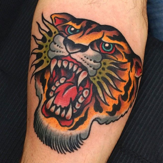 Traditional Tiger Tiger Head Tattoo Becoming A Tattoo Artist Traditional Tattoo
