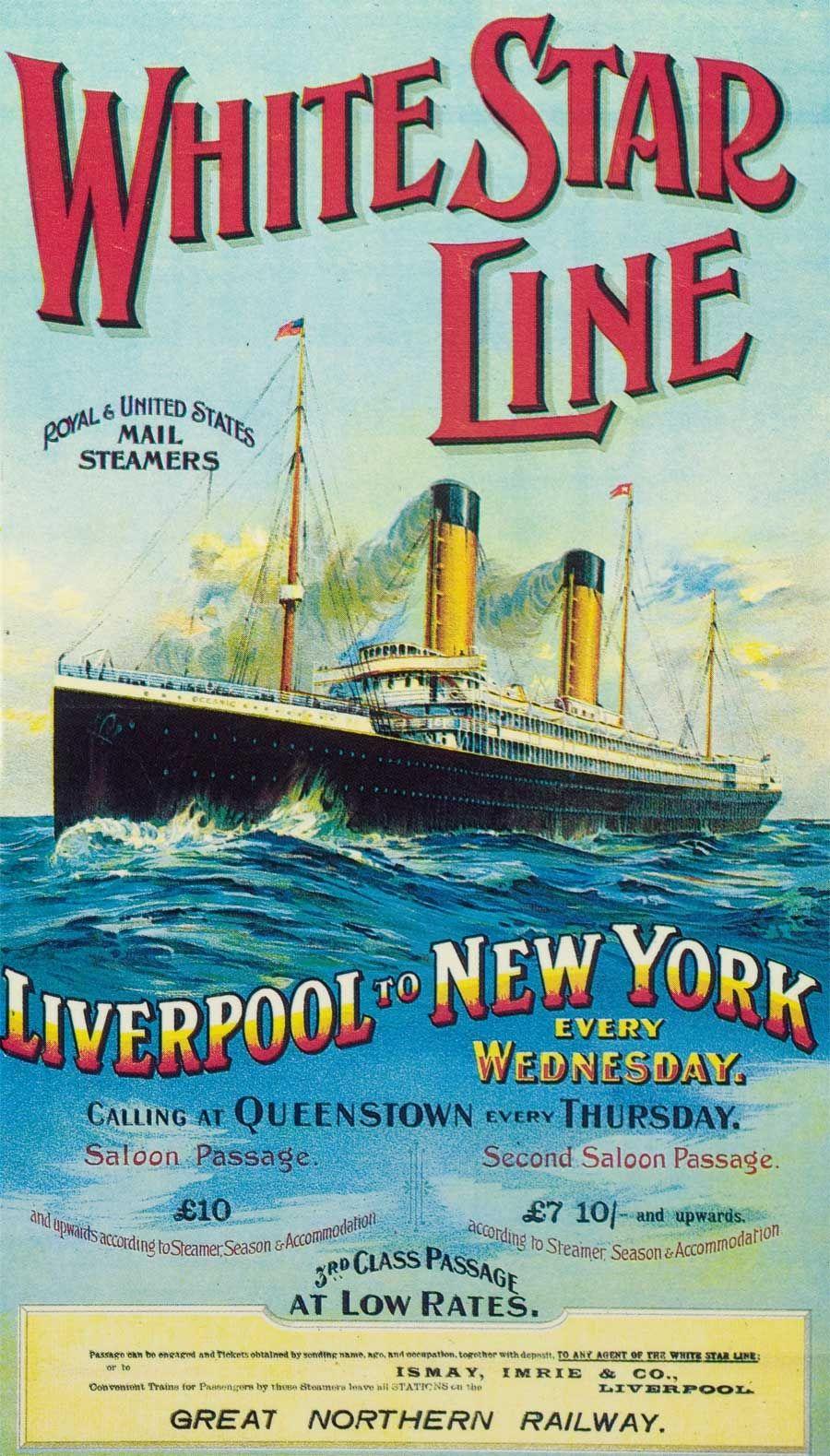 Early 1900s poster promoting transatlantic passage on ...