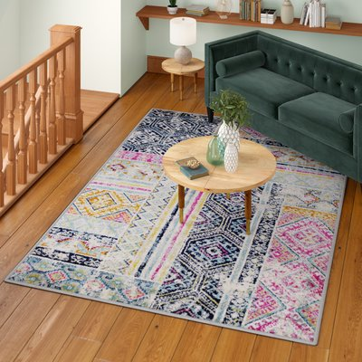 Bungalow Rose Pena Cream Navy Purple Area Rug Rug Size Rectangle 1 10 X 2 11 In 2020 Purple Area Rugs Area Rugs Beige Area Rugs
