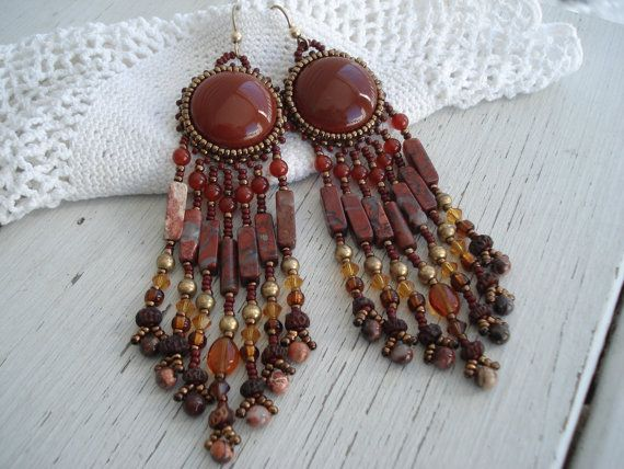 Vintage Chocolate Brown Beaded Earrings Native by boxerlovinglady, $43.00