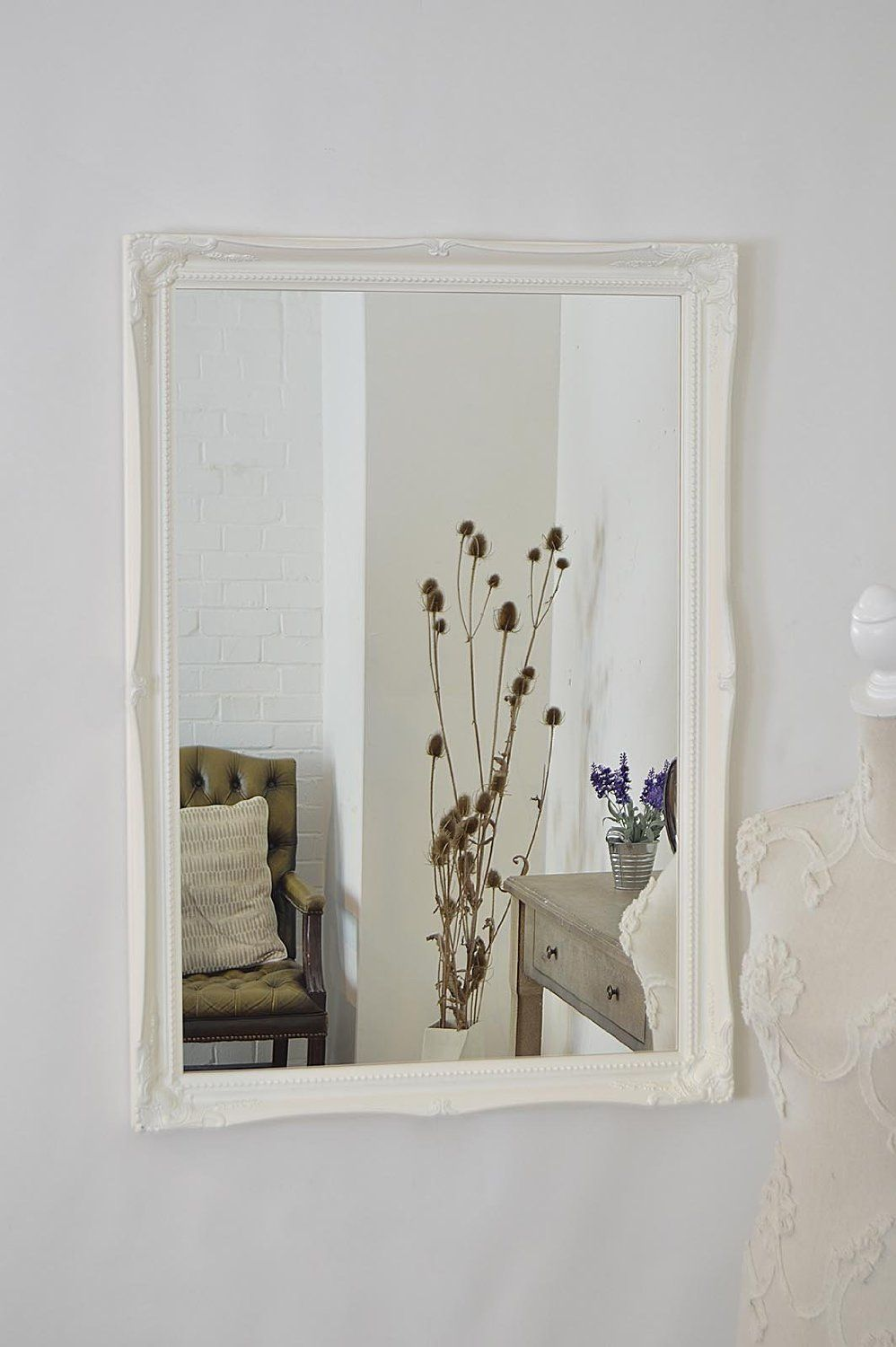 Large White Overmantle / Wall Mirror with Ornate 2\