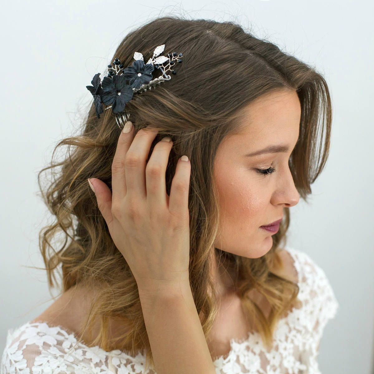 black bridal headpiece, wedding black hair flowers, black