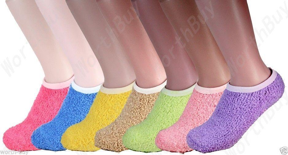 6 Pairs Of Purple /& Black Warm Fuzzy Women's Socks Size 9-11