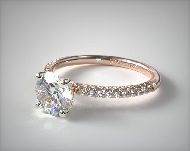 14k Rose Gold Petite Pave Engagement Ring Flush Fit In 2018 The