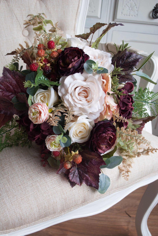 Peach And Burgundy Silk Wedding Bouquet In 2020 Silk Flowers Wedding Wedding Bouquets Silk Wedding Bouquets