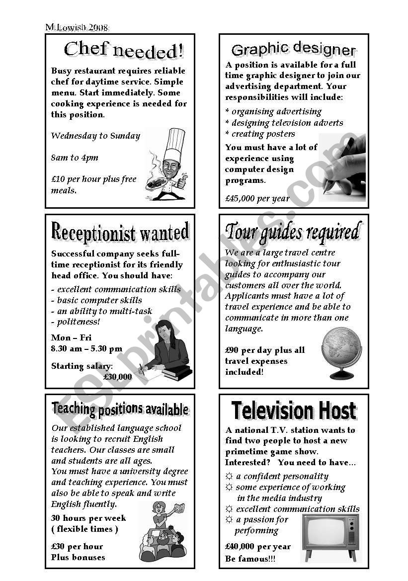 Newspaper Job Advertisements Worksheet Newspaper Jobs Job Advertisement Reading Jobs [ 1169 x 821 Pixel ]