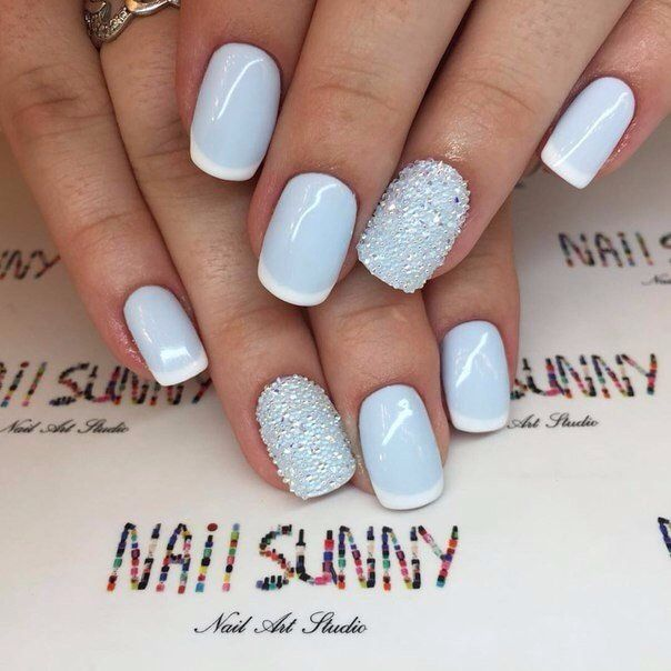 Baby blue winter nails