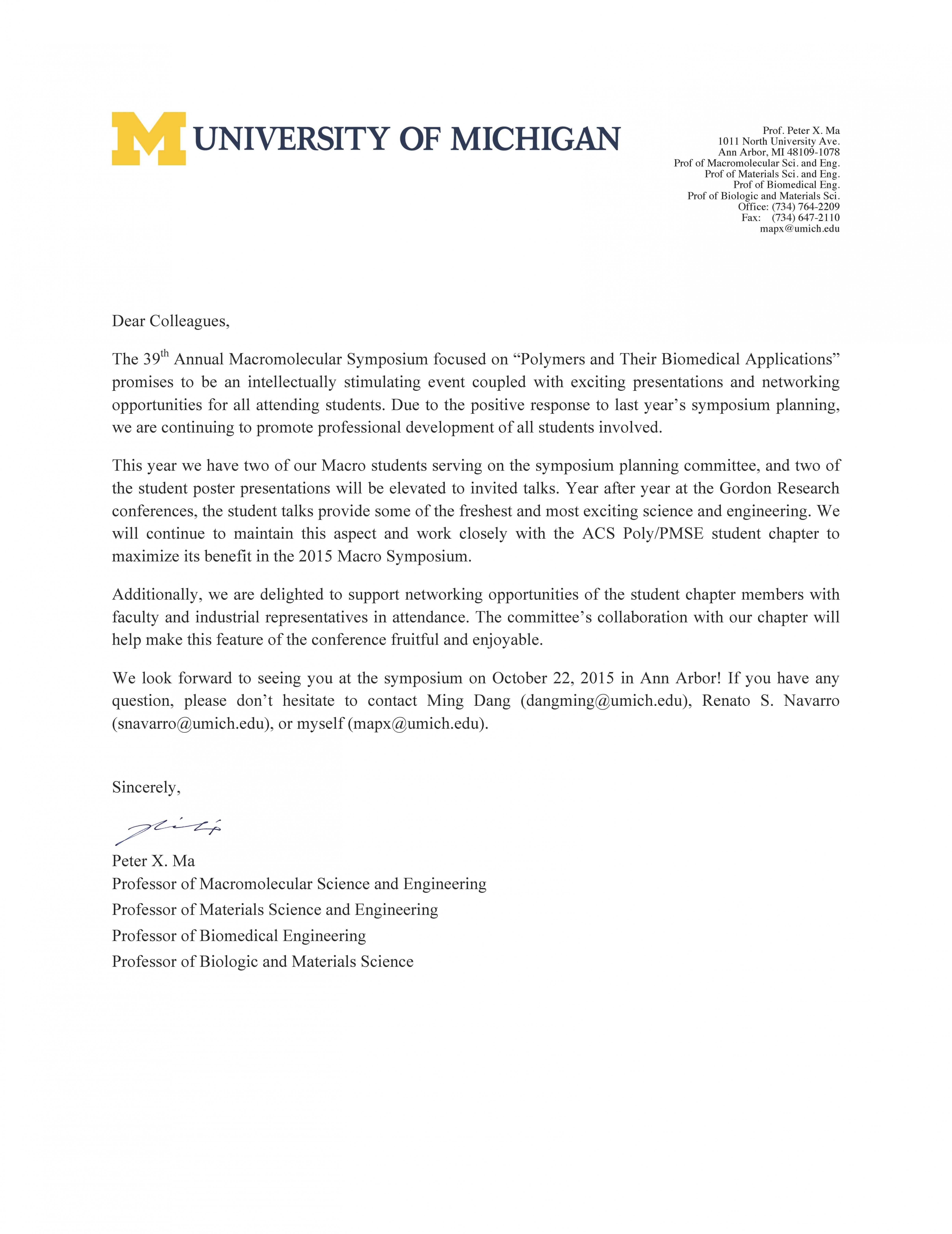 Cover Letter Template Umich Cover Letter Template