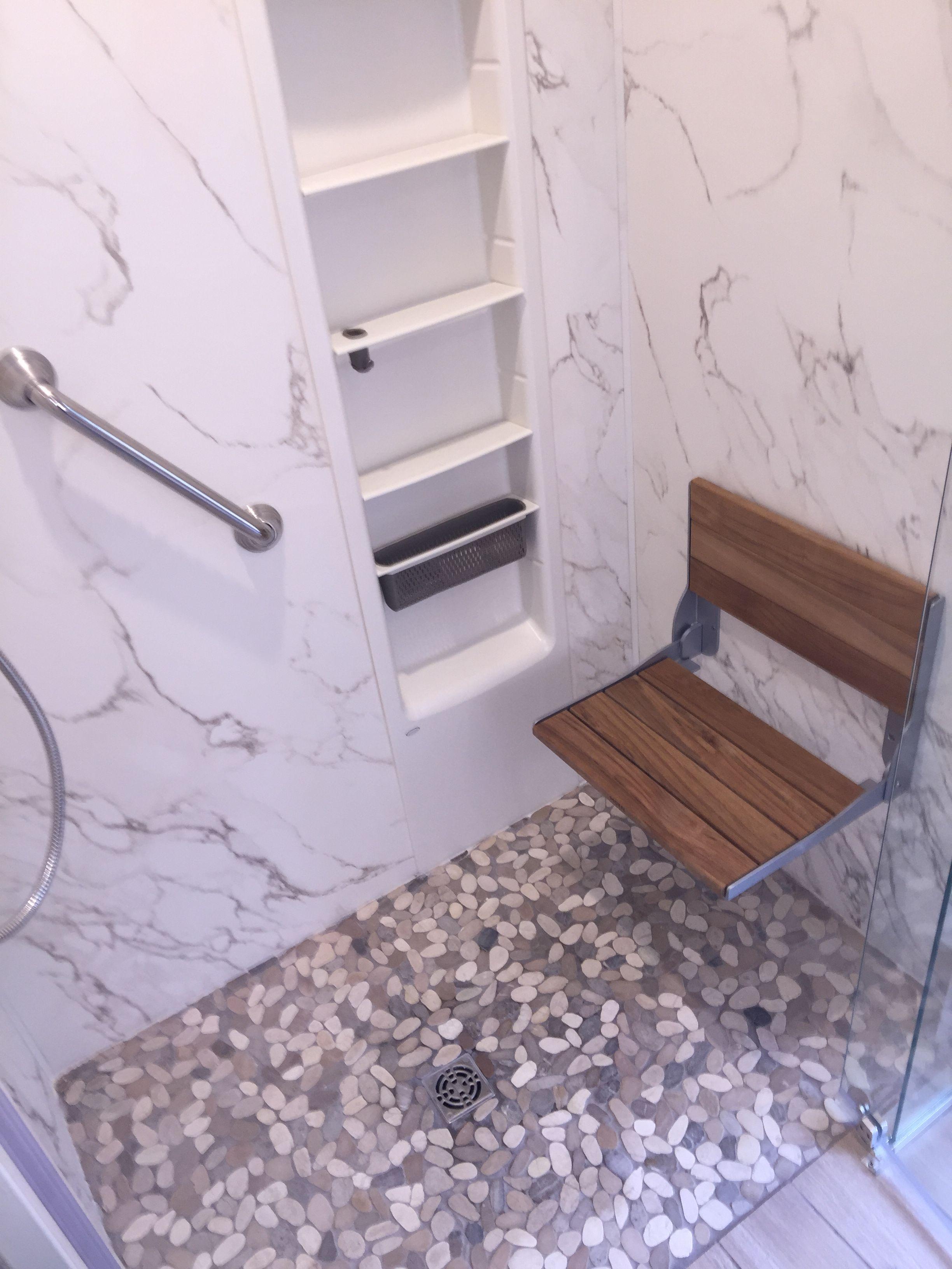 design gray shower pebble white tile floors floor river ideas home and charm rock
