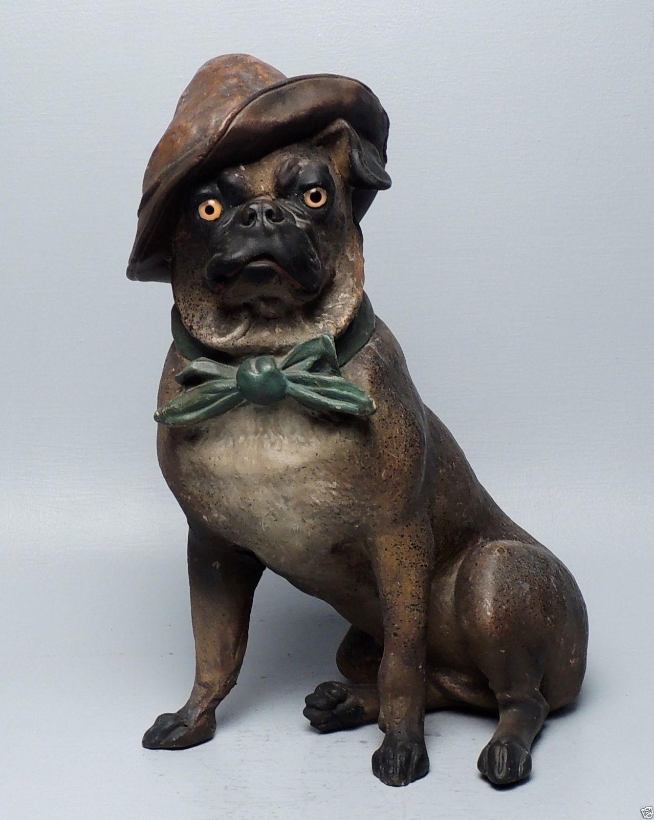 Antique Austrian Or German Terracotta Pottery Pug Dog