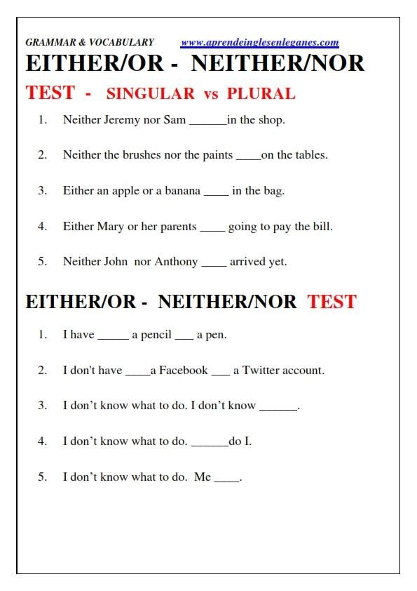 Either Or Neither Nor English Grammar Cambridge English Fce Cae Cpe Learn English Vocabulary Grammar And Vocabulary Learn English