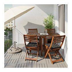 IKEA - ÄPPLARÖ, Bord og 4 klapstole, udendørs, 2 klapper, så bordets størrelse kan tilpasses efter dit behov.Stolen er nem at klappe sammen og opbevare, og det gør den perfekt til ekstra middagsgæster.Du kan gøre din stol mere komfortabel og personlig med en pude eller hynde i en stil, du kan li'.Møblerne er forbehandlet med flere lag semitransparent træbejdse, så du kan nyde træets naturlige udseende og for at gøre det ekstra holdbart.