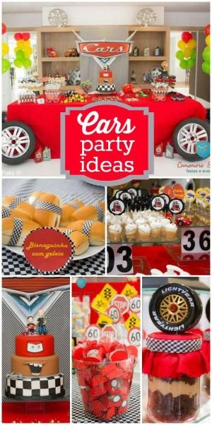 A Disney Cars boy birthday party with awesome decorations cake and